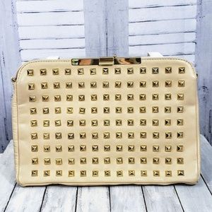 Zara Woman Tan Leather Clutch with Gold Studs